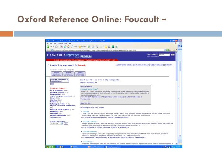 Oxford Reference Online: Foucault