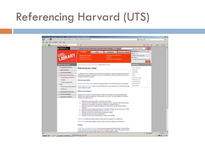 Referencing Harvard (UTS)
