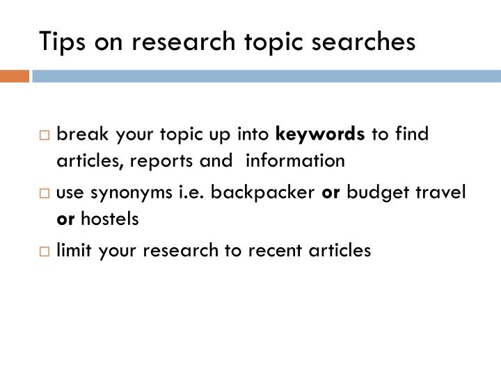 Tips on research topic searches