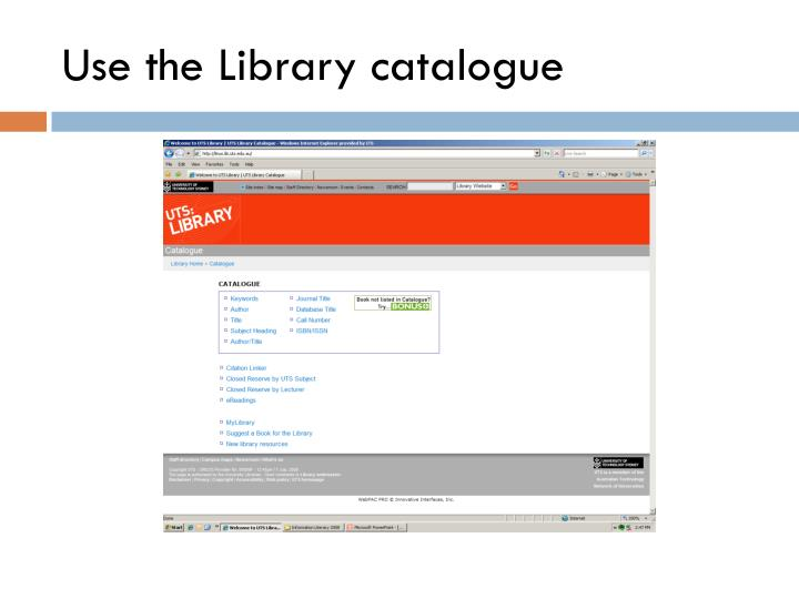 Use the Library catalogue