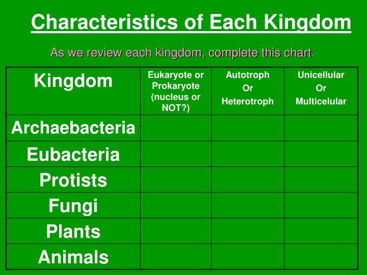 Characteristics of Each Kingdom