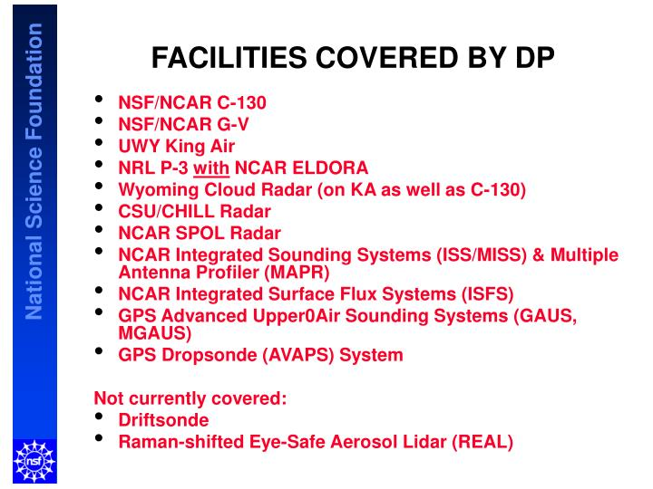 FACILITIES COVERED BY DP