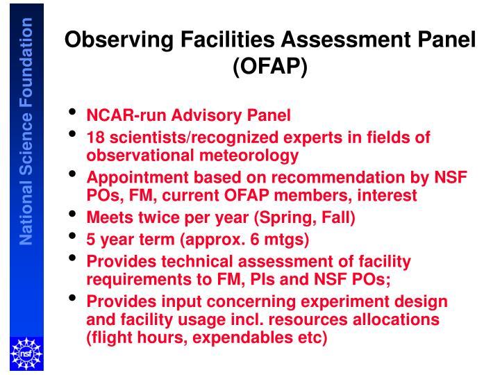 Observing Facilities Assessment Panel (OFAP)