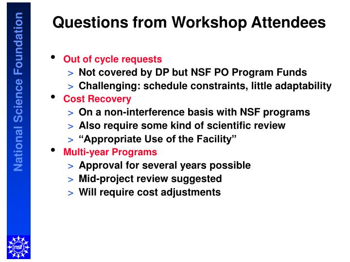 Questions from Workshop Attendees