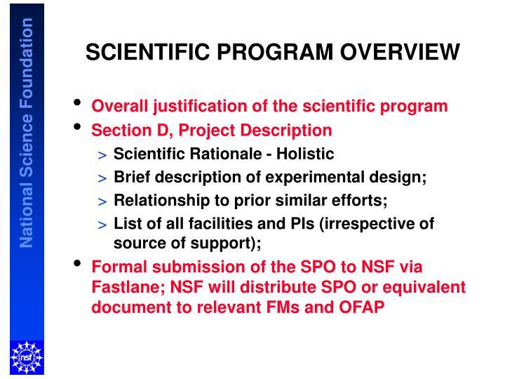 SCIENTIFIC PROGRAM OVERVIEW