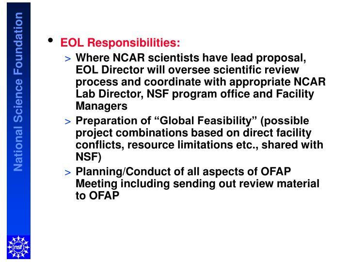 EOL Responsibilities: