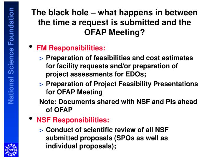 The black hole – what happens in between the time a request is submitted and the OFAP Meeting?