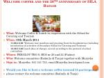 special event 19 th march welcome coffee and the 20 th anniversary of sila bazaar
