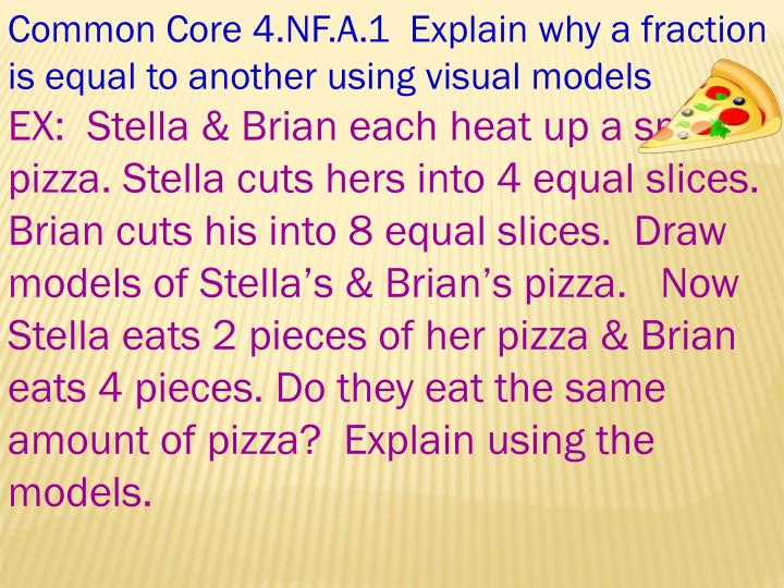 Common Core 4.NF.A.1  Explain why a fraction is equal to another using visual models