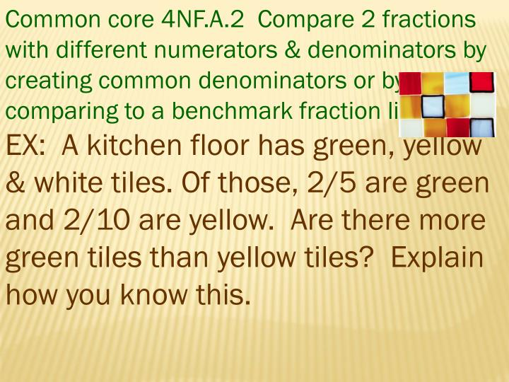 Common core 4NF.A.2  Compare 2 fractions with different numerators & denominators by creating common...