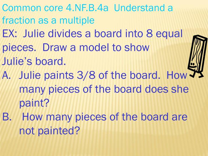 Common core 4.NF.B.4a  Understand a fraction as a multiple