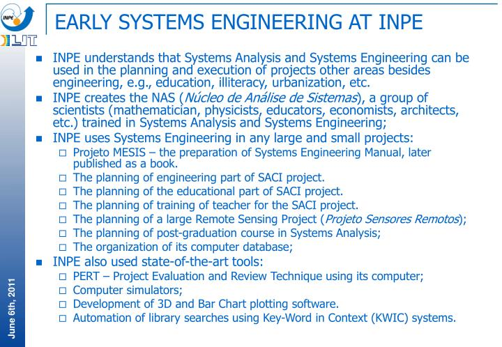 EARLY SYSTEMS ENGINEERING AT INPE