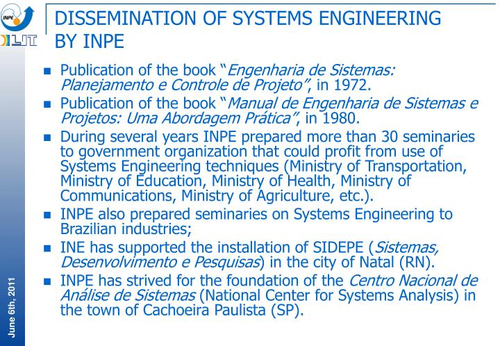 DISSEMINATION OF SYSTEMS ENGINEERING BY INPE