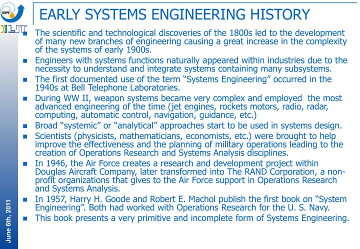 EARLY SYSTEMS ENGINEERING HISTORY