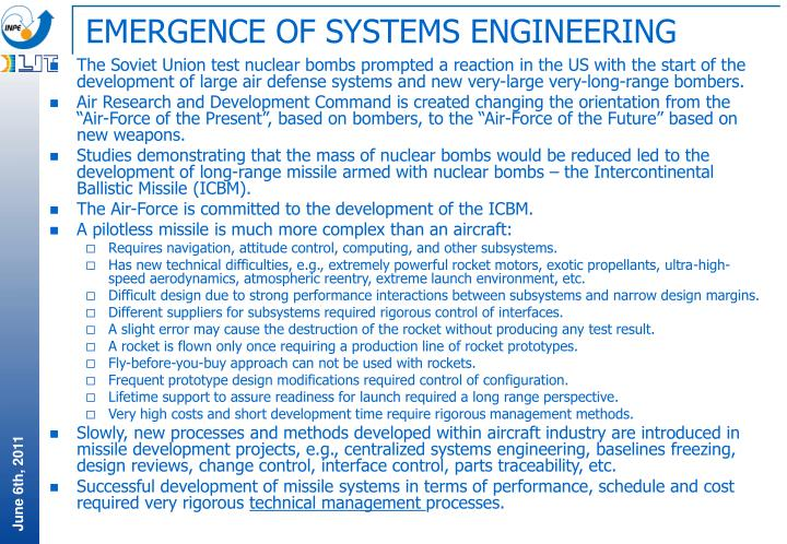 EMERGENCE OF SYSTEMS ENGINEERING
