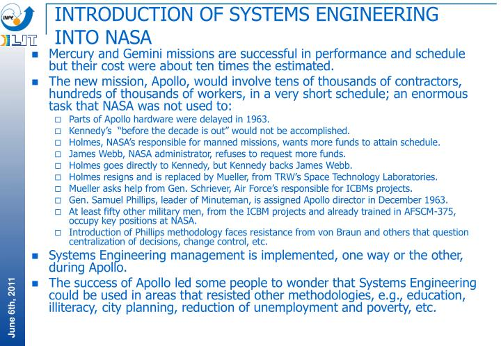 INTRODUCTION OF SYSTEMS ENGINEERING INTO NASA