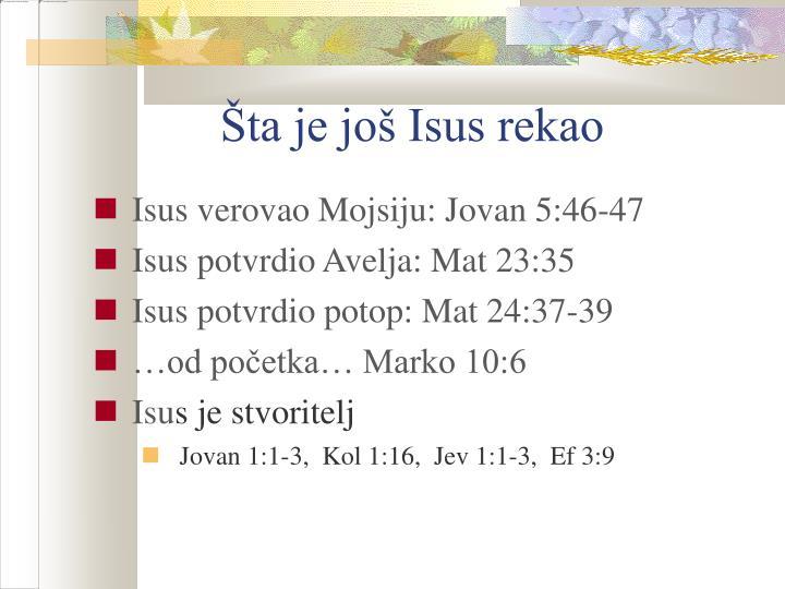 Šta je još Isus rekao