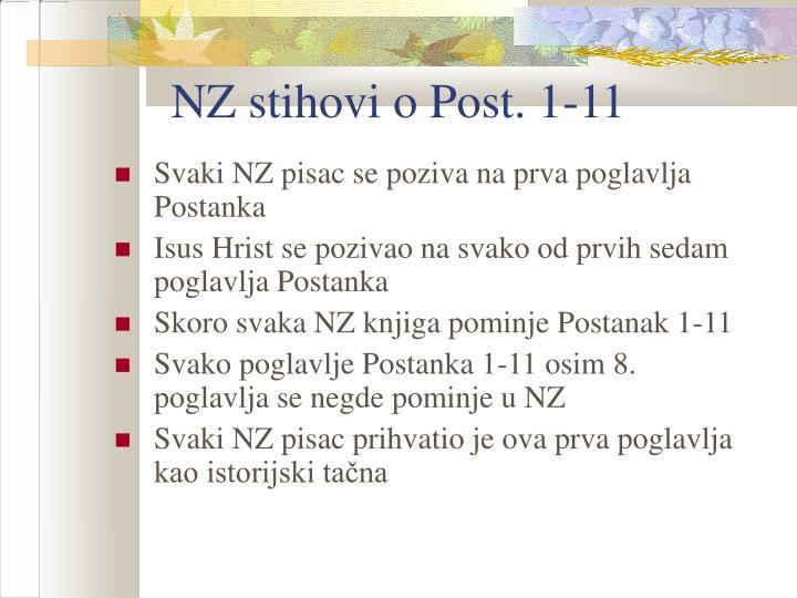 NZ stihovi o Post. 1-11