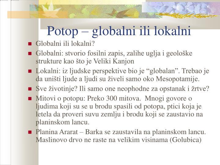 Potop – globalni ili lokalni