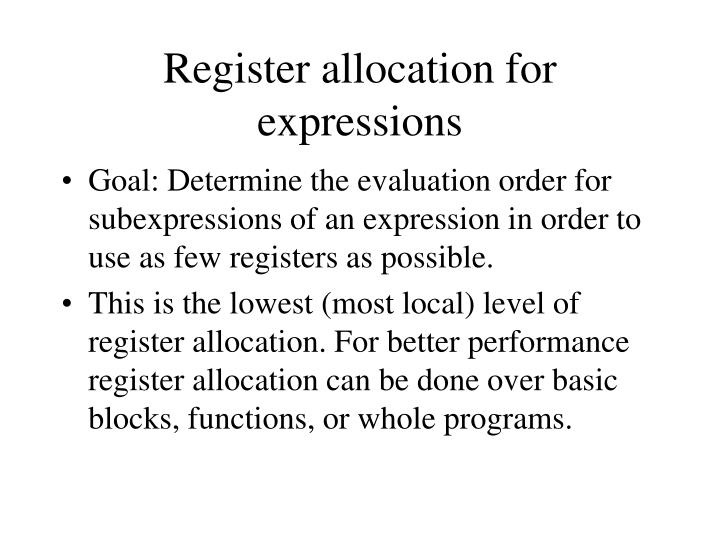 Register allocation for expressions