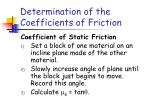 determination of the coefficients of friction