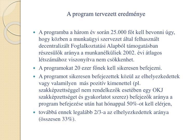 A program tervezett eredménye