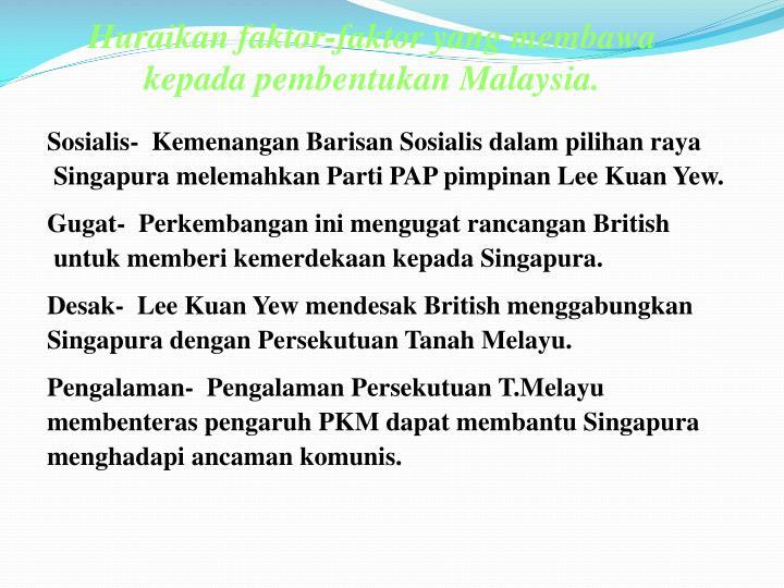 Huraikan faktor-faktor yang membawa kepada pembentukan Malaysia.