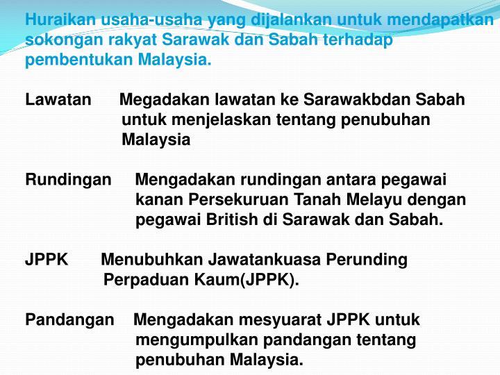 Huraikan usaha-usaha yang dijalankan untuk mendapatkan sokongan rakyat Sarawak dan Sabah terhadap pembentukan Malaysia.
