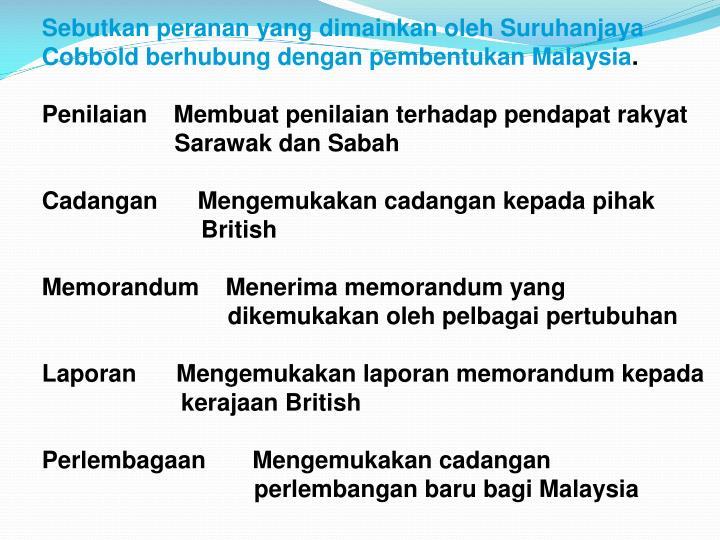 Sebutkan peranan yang dimainkan oleh Suruhanjaya Cobbold berhubung dengan pembentukan Malaysia