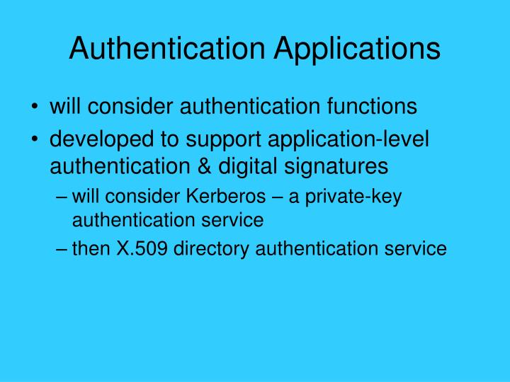 Authentication applications