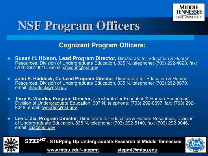 NSF Program Officers