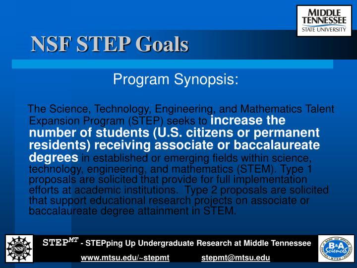 NSF STEP Goals