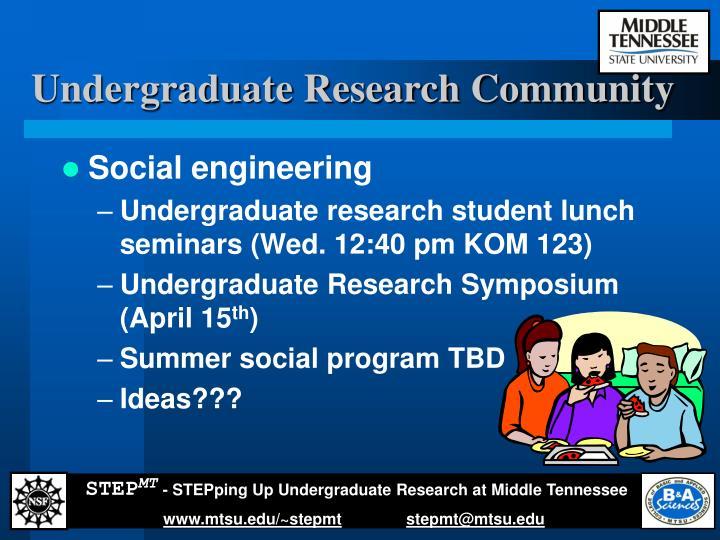 Undergraduate Research Community