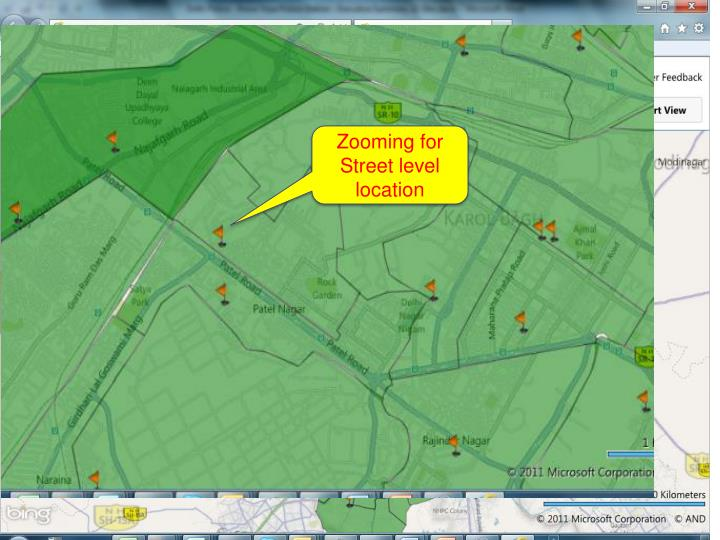 Zooming for Street level location