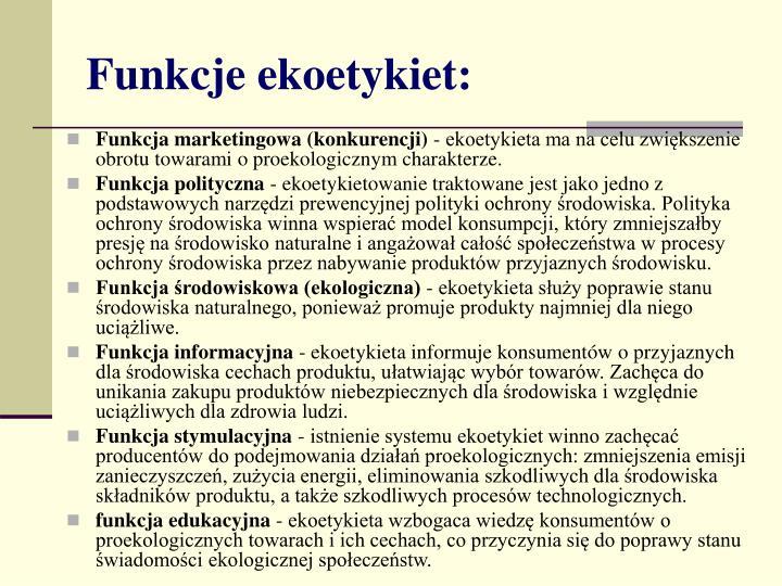 Funkcje ekoetykiet: