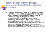 badania p rofesor a mcsherry dotycz ce wp ywu opieki duszpasterskiej na pacjent w w szpitalach