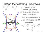 graph the following hyperbola5