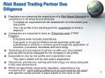 risk based trading partner due diligence
