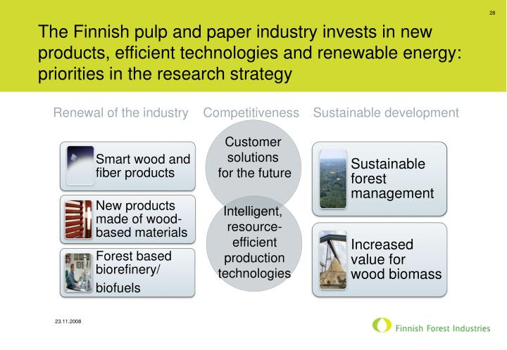 The Finnish pulp and paper industry invests in new products, efficient technologies and renewable energy: priorities in the research strategy