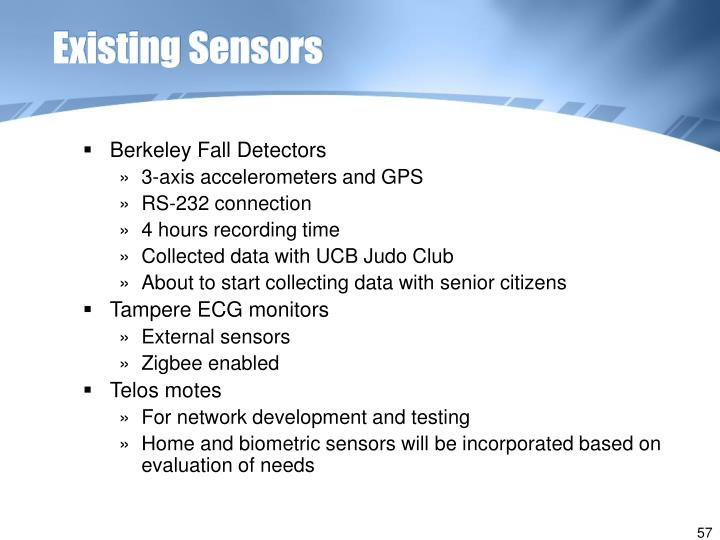 Existing Sensors