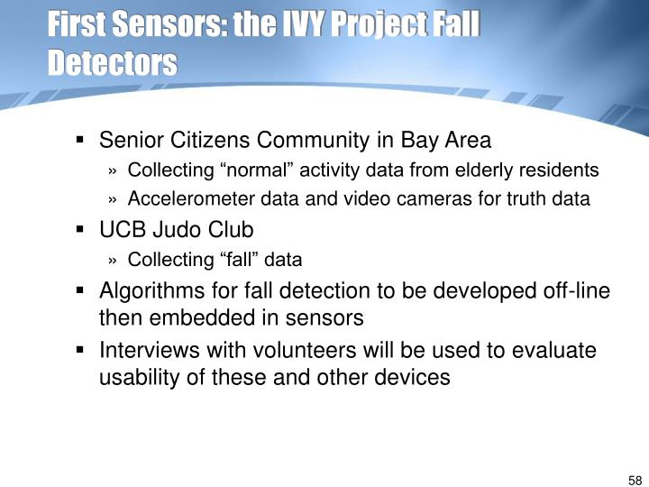 First Sensors: the IVY Project Fall Detectors
