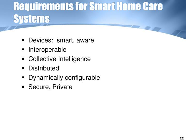 Requirements for Smart Home Care Systems