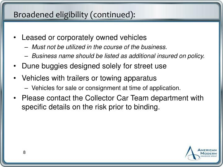 Leased or corporately owned vehicles