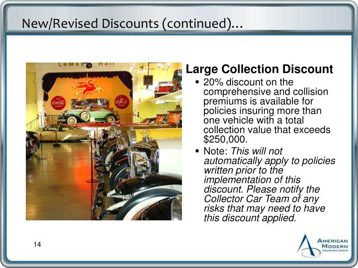 New/Revised Discounts (continued)…