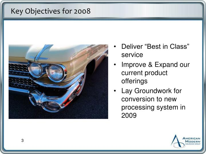 Key Objectives for 2008