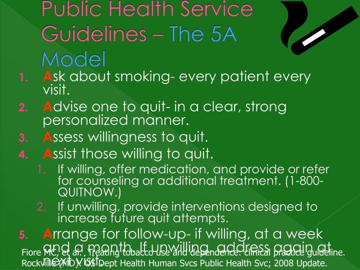 Public Health Service Guidelines –