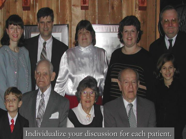 Individualize your discussion for each patient.