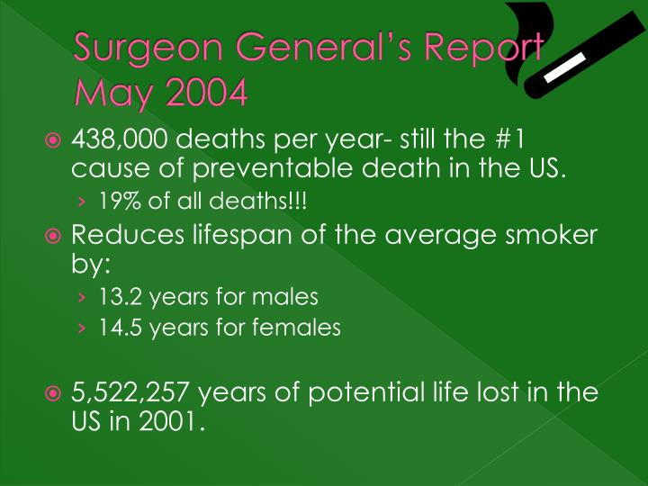 Surgeon General's Report May 2004