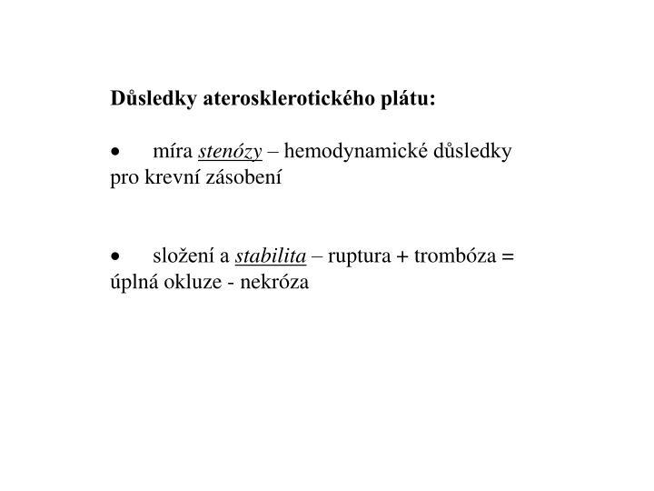 Důsledky aterosklerotického plátu: