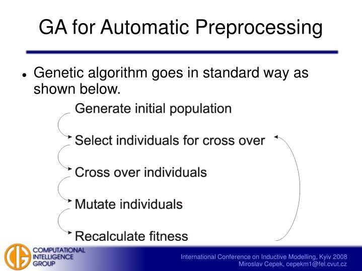 GA for Automatic Preprocessing